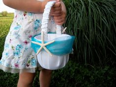 Starfish Aqua Flower Girl Basket Wedding Beach Themed by JCBees