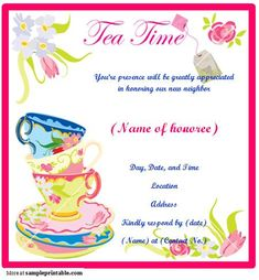 Tea Party Printable Invitations Free  Tea Party    Tea