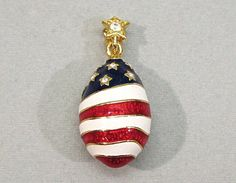 Joan Rivers Star Spangled Patriotic Egg Pendant by COBAYLEY, $20.00 Joan Rivers Jewelry, I Love Bees, Star Spangled, Cool Costumes, Girls Best Friend, Brooch Pin, Costume Jewelry, Red And White, Egg