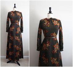 Vintage Bohemian Paisley Retro Maxi Dress Size by PARASOLvintage