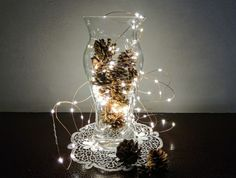 decorative creation with pine cones and micro LEDs Christmas mood