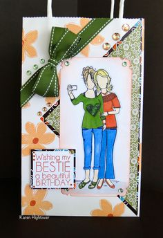 I made this gift bag using Gina K Designs patterned paper Ang & Me. The stamp set is from Unity Stamps, called Gina & Me.