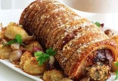 Χοιρινό ρολό με πατάτες και μουστάρδα