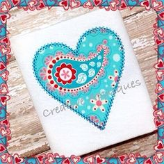 Valentine Vintage Stitch Heart Applique - 4 Sizes! | Valentine's Day | Machine Embroidery Designs | SWAKembroidery.com Creative Appliques
