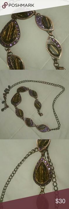 """💜❣💜 copper Belt or necklace CHICOS copper metal belt  studded with purple rhinestones and  amber-copper- wooden like  inserts.  50""""long , with lobster hook...lovingly worn to work, it's a signature accessory Boss Lady  piece!! Apprx48"""" longgggg Chico's Dresses"""