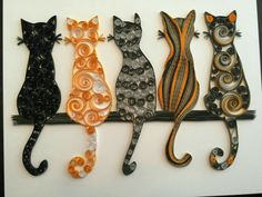 Quilling art of cats, really cute. Love the t - Quilling Paper Crafts Arte Quilling, Origami And Quilling, Quilling Paper Craft, Paper Crafting, Quilling Flowers, Paper Quilling Tutorial, Paper Quilling Patterns, Quilled Paper Art, Button Art