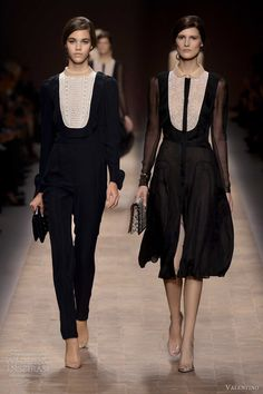 valentino spring summer 2013 menswear inspired tuxedo style lace bib collar pant suit dress