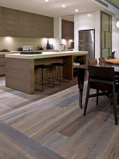 French Grey American Oak timber floors by Royal Oak floors Kitchen Interior, New Kitchen, Kitchen Decor, Wooden Kitchen, The Design Files, Küchen Design, House Design, Interior Desing, Interior Decorating