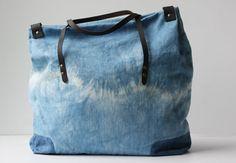 Indigo Dyed One of a Kind Organic Weekend Bag by jennarosehandmade, $110.00