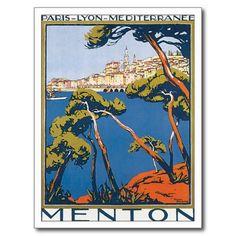 Vintage Menton France Travel Poster Art Postcard