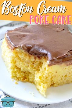 This Boston Cream Poke Cake tastes just like the pie but in cake form! Easily made with a boxed cake mix, pudding and chocolate frosting! Poke Cake Recipes, Poke Cakes, Dessert Recipes, Desserts, Layer Cakes, Mini Cakes, Cupcake Cakes, Cupcakes, Boston Cream Poke Cake