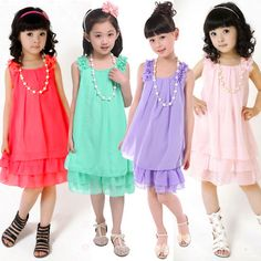Chiffon Lace Lovely Kids Casual Sleeveless Girl Childrens Dresses -Free Shipping for all to over 200 countries on Malloom.com
