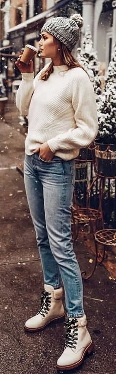 #winter #outfits white knit sweater and blue jeans