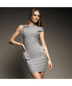 Gray Ruffle  Heathered Lace Up Bandage One Shoulder Dress H114 @ Shop Lately $120