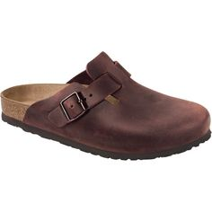 Birkenstock Boston Leather Clog ($130) ❤ liked on Polyvore featuring shoes, clogs, slip on clogs, genuine leather shoes, slip-on shoes, shock absorbing shoes and real leather shoes