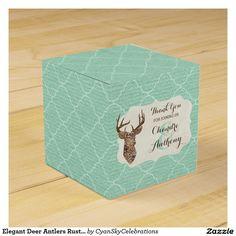 Elegant Deer Antlers Rustic Country Wedding Party Favor Box #deer #antlers #rustic #country #wedding #turquoise #woodland #woodsy #natural #nature
