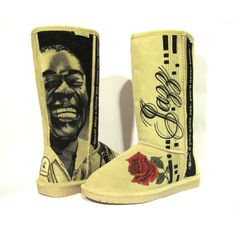 Boots Hand Painted boots, BEARPAW size 8 Louis Armstrong jazz theme ($198) via Polyvore featuring shoes, boots, bleach shoes, bearpaw shoes, bearpaw boots, waterproof footwear and waterproof shoes