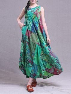#BangGood - #Eachine1 Vintage Patchwork Loose Sleeveless Women Long Maxi Dresses - AdoreWe.com