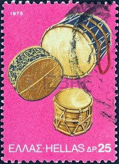 GREECE - CIRCA 1975  A stamp printed in Greece from the  traditional musical instruments  issue shows Tambourine Drums, circa 1975