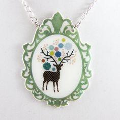 Deer Pendant Necklace Shrink Plastic with Resin  par kelliechristie, $25.00