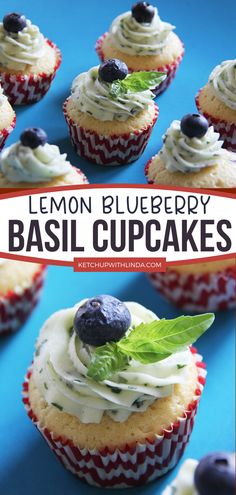 Delish lemon blueberry cupcakes are made with vanilla, lemon zest and juice, blueberries, and topped with lemon basil frosting. These delicious blueberry cupcakes have a light texture, fresh fragrance, and absolutely scrumptious! The perfect dessert for summer! Summer Desserts, Easy Desserts, Delicious Desserts, Yummy Food, Tasty, Cupcake Recipes, Dessert Recipes, Pastries Recipes, Party Recipes