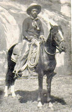 """Bill Pickett (about 1920) was a legendary cowboy from Taylor, Texas of black and Indian descent. Born in the Jenks-Branch community on the Travis County line, he died in 1932, near Ponca City, Oklahoma. Pickett performed from 1905 to 1931 for the Miller brother's 101 Ranch Wild West Show, one of the great shows in the tradition begun by William F. """"Buffalo Bill"""" Cody in 1883. The 101 Ranch Show introduced bulldogging (steer wrestling), an exciting rodeo event invented by Bill Pickett."""