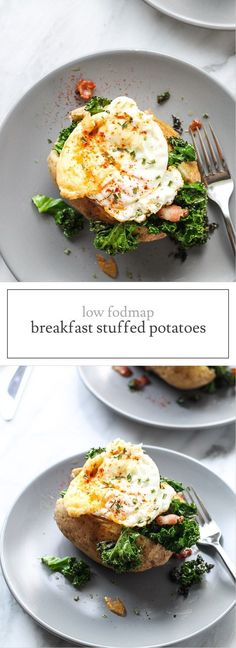 A quick and easy meal anytime of the day, this Low FODMAP Breakfast Stuffed Potato recipe is filled with bacon-y kale and topped with an ooey-gooey egg. Fodmap Breakfast, Easy Healthy Breakfast, Healthy Meals For Kids, Easy Meals, Breakfast Recipes, Fodmap Diet, Low Fodmap, Fodmap Foods, Vegetarian Recipes