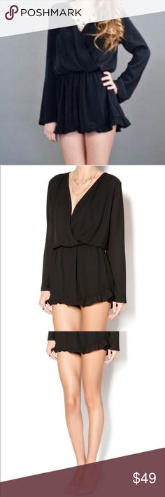 """⛱🆕Honey Punch Ruffle Romper 🍃Simple, yet sexy, long flared sleeve romper with an adjustable neckline. Very comfortable, stretchy elastic waist and ruffle trim shorts. Shorts are double lined. Style with a nice statement choker or necklace, a pair of heels and you're ready for a night on the town.🍃  100% Polyester  All measurements are approximate.  ▪️Pit to pit: 17.50"""" ▪️Waist: 12.5 w/o stretch  18.0 with stretch ▪️Length: 29.0"""" ▪️Sleeve length: 24.0"""" Honey Punch Other"""