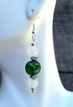 Green Beaded Earrings Beaded Jewelry Dangle by CathysCraftyDesigns