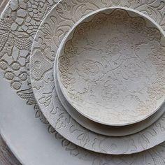 Work in progress, new ceramic plates and bowls   -  -   #ceramicart #workinprogress #drying  #ceramics #lacepottery #artdeco #inspire #clayart #claypassion #inarbeit #ceramicdesign #laceimpression #creative_instaarts #handbuiltpottery #plates #bowl #love #keramik #керамика #сушка #ручнаялепка #глина #керамикаскружевом #ceralonata