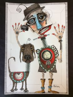 "This was inspired by David Lipson ( on IG - check out his work! I am calling it ""Robotman's Best Friend"" 13 x I had great fun with these two characters! Stella Art, Magazine Collage, Quirky Art, Happy Paintings, Wow Art, Human Art, Art Journal Inspiration, Art Sketchbook, Figurative Art"