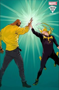 Power Man and Iron Fist No. 1 Cover Featuring Power Man, Iron Fist Marvel Comics Poster - 30 x 46 cm Comic Movies, Comic Book Characters, Marvel Characters, Comic Books Art, Comic Character, Iron Fist Powers, Luke Cage Iron Fist, Detective, Luke Cage Marvel