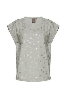 Oversized silver glitter spotted t-shirt with hi-lo hem. Fit runs large. This oversized t-shirt is great for lazy weekends team with leggings or skinny jeans for great casual style!  Josefine T-Shirt by ICHI. Clothing - Tops - Short Sleeve Bromley South London London