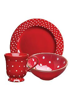Vietri Rosso Vecchio Dot. A lovely set, comes in dots and stripes.  Has many serving pieces available too.  Belk's sells some.  I found several pieces here: https://www.theitaliandish.com/tableware-accent-tableware-vietri-rosso-vecchio-c-293_117_227.html