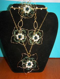 Wire Weaving Handmade Pearl Flower Set with by BarbsWireCreations, $26.95