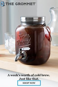 Cold Brew On Tap Coffee Maker by Willow & Everett Sangria Recipes, Tea Recipes, Coffee Recipes, Starbucks Drinks, Coffee Drinks, Manhattan Recipe, Bloody Mary Recipes, Non Alcoholic Drinks, Beverages
