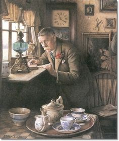 """""""Someone Coming to Tea"""" [detail] -- by Charles Spencelayh (1865--1958, English)"""
