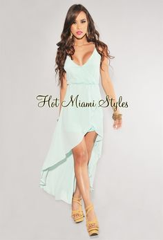 Mint Green Ruffle High-Low Dress
