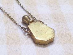 Vintage Brass Perfume Bottle Vial Pendant Necklace by LoveLockets, $30.00