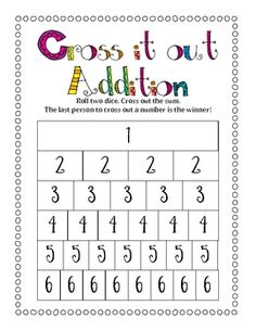 Student roll two dice and cross out the sum. The last one to cross out a number is the winner. This activity is a great partner game. It can be use...