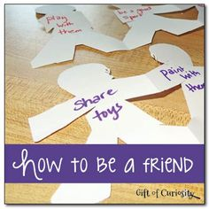 """Great Activity for Ready for School and Making Friends themed activities A simple activity and discussion for teaching young children how to be a friend based on the book """"How to be a Friend"""" by Laurie Krasny Brown. Preschool Lessons, Preschool Classroom, In Kindergarten, Preschool Activities, Matter Activities, Preschool Social Skills, Therapy Activities, Manners Preschool, Kindness Activities"""