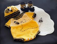 Top 5 bumble bee, honeybee knitting patterns: baby romper set by T-Bee Cosy