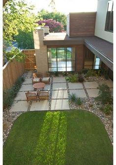 Concrete Squares Patio for the tiny yard.