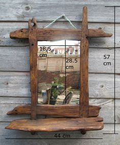 Driftwood / rustic style mirror in recycled pine with medium oak/antique pine beeswax finish by yorkart on Etsy