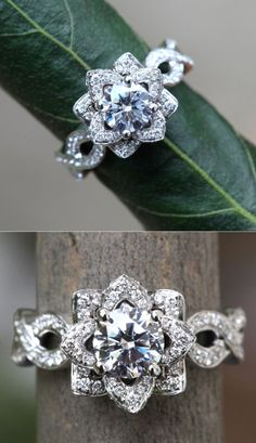 Would never expect such a ring, but it is very pretty :) EVER BLOOMING LOVE 1.50 carat Diamond Engagement Ring on ETSY :: Garden Wedding