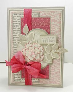 Seize the Birthday #1 challenge. SU Stamps: Petite Pairs/ Postage Due/ Secret Garden; Paper: Fan Fair DSP; Very Vanilla Seam Binding hand-dyed.   #SU    love the dyed seam binding!
