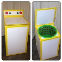 Play Washing Machine! Used card board box, basket from Dollar Tree, tops from bottles, duct tape, and contact paper.