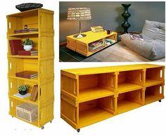 Com caixotes de feira é possível criar móveis que, além de sustentáveis, dão chame à decoração. Inspire-se!   #caixote #móveis #decoração #decor #DIY #façavocêmesmo #inspiração