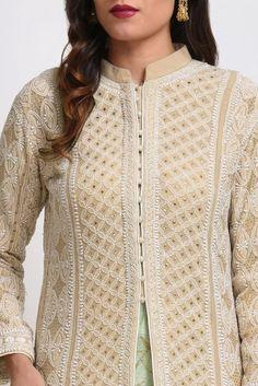 Champagne Chikankari Jacket With Kashmiri Tilla Lehenga & Skirt Designer Dress For Men, Designer Punjabi Suits, Designer Party Wear Dresses, Kurti Designs Party Wear, Indian Designer Wear, Neckline Designs, Kurti Neck Designs, Kurta Designs Women, Lehenga Skirt