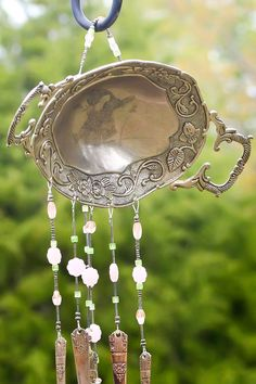 windchime made from ornate antique dish, antique silverware